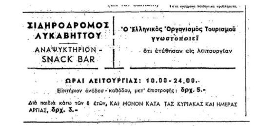 Η πρώτη διαφήμιση για το Τελεφερίκ - Εφημερίδα Ελευθερία 20 Απριλίου 1965