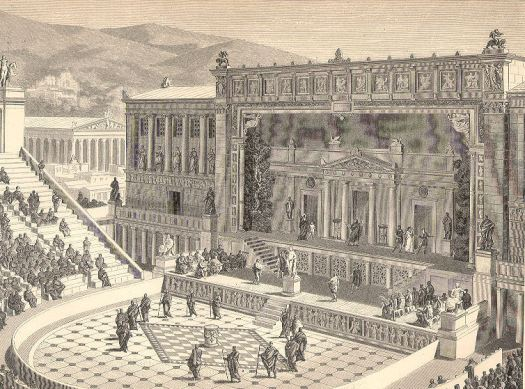 Reconstrucion ot the theatre of Dionysus in Athens, in Roman times. From the German 1891 encyclopedia Joseph Kürschner